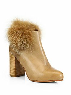 See by Chloe Leather Fur-Trimmed Ankle Boots $425