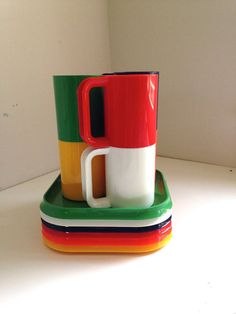 Vintage Ingrid picnic set plates and mugs rainbow by fuzzymama, $25.00