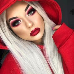"Jeffree Star Cosmetics on Instagram: ""LITTLE RED RIDING HOOD ♥️♥️ We are feeling the heat from @cezarsmakeup 🥰🥰 She used #velourliquidlipstick shades 'Redrum' & 'Unicorn Blood'…"""