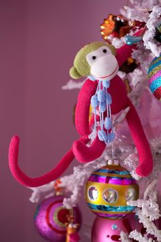 I still adore Tobi Fairley's colorful, sock monkey Christmas tree for her daughter.