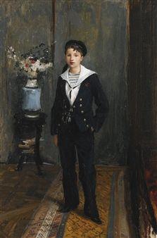 Jules Bastien-Lepage Portrait of a Young Boy, 1881 oil on canvas 62 x 40 cm Carl Spitzweg, Antoine Bourdelle, Sailor Outfits, Vintage Artwork, Young Boys, Oil On Canvas, Lepage, 19th Century, Child Portraits