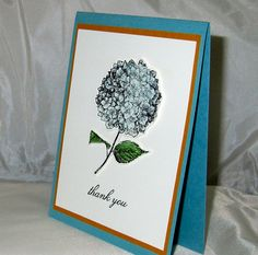 Thank you card handmade hydrangea flower by QuirkynBerkeleyCards
