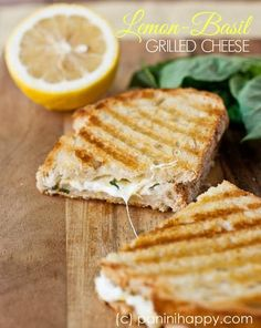 Lemon Basil Grilled Cheese Panini | 4 oz shredded mozzarella, 2 oz crumbled feta cheese, 2 tsp grated lemon zest, 2 tsp chopped fresh basil, 1 Tbsp extra-virgin olive oil, 8 slices Italian or sourdough bread | Toss together the mozzarella, feta, lemon zest, and basil. Brush olive oil on two slices of bread. Flip over one slice and top the other side with a layer of the cheese mixture. Close the sandwich with the other slice of bread, oiled side up. Grill two panini for  4 to 5 minutes.