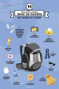 11 items to always pack in travel rides- 11 itens para sempre levar na mochila nos passeios de viagens 11 items to carry with you on your backpack during your travels - Travel Checklist, Travel Packing, Travel Tips, Walt Disney Orlando, Yogyakarta, Au Pair, Vacation Deals, Eurotrip, Travel Organization