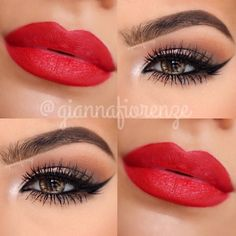 Red lips and natural eyes
