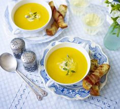 Roast Carrot Soup with Pancetta Croutons - A creamy vegetable blend works perfectly with crispy toast dipping soldiers and salty bacon Roasted Carrot Soup, Roasted Carrots, Crouton Recipes, Soup Recipes, Bbc Good Food Recipes, Cooking Recipes, Soups And Stews, Kids Meals, Stuffed Peppers
