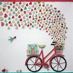 Nursery wall art: colorful and cute bicycle with baskets overflowing full of love hearts . Heart Collage, Heart Art, Love Heart, Collage Art, Textiles Sketchbook, Symbolic Representation, Art Journal Prompts, Art Studio Organization, Gold Canvas