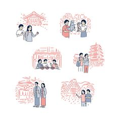 Tokyo illustrator Okamura Yuta and his endearing brush-and-ink characters Outline Illustration, Japanese Illustration, Simple Illustration, Graphic Design Illustration, Japan Graphic Design, Tokyo, Botanical Drawings, Illustrations And Posters, Drawing People