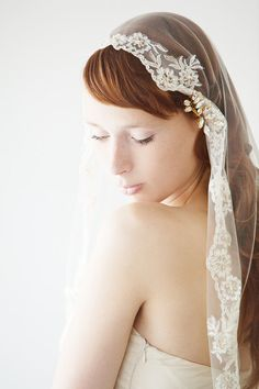 Mantilla Veil Elbow Length Lace  Everlasting Love  by sibodesigns, $195.00