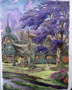 thomas kinkade cobblestone lane i boxless puzzle floral home nature new ceaco projects to. Black Bedroom Furniture Sets. Home Design Ideas