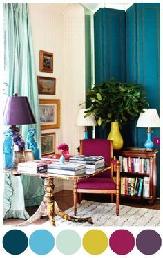 If you can't decide on a color to decorate with, why not choose them all!? This room by designer Miles Redd inspired me to pull out the color palette of dark teal/navy all the way to the gold and purple. Remember the Rule Of Three note from this post and notice the repetition of certain [...]