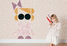 Girl Kids wallpaper design by Tres Tintas with PATCHWORK wallpaper. For sale on NUBA