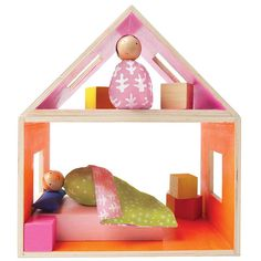 Manhattan Toy MiO Sleeping + 2 People Modular Wooden Building Set, Multicolor