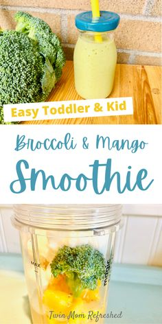 Veggie And Fruit Smoothie, Broccoli Smoothie, Vegetable Smoothie Recipes, Vegetable Recipes For Kids, Smoothie Recipes For Kids, Baby Food Recipes, Smoothies With Vegetables, Recipes For Toddlers, Healthy Smoothies For Kids