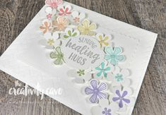 Check out this week's Simple to Stunning Card Video featuring Stampin Up's Thoughtful Blooms Stamp Set and coordinating Small Bloom Punch as well as t. Scrapbooking, Scrapbook Paper, Healing Hugs, Bloom, Get Well Cards, Crafts To Sell, Selling Crafts, Ink Pads, Stamping Up