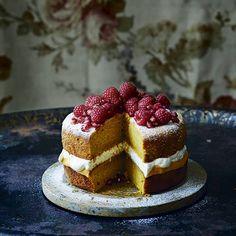 Orange and butternut curd sponge #recipe. Homes & Gardens October 2015. Recipes Alice Hart, styling Karen Akhtar, photogrpahs Ali Allen. http://www.hglivingbeautifully.com/2015/10/04/weekend-recipes-pumpkin-puddings/