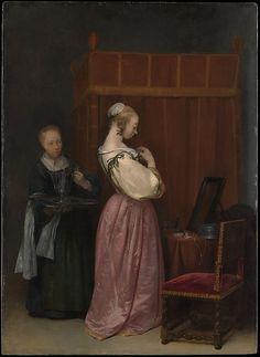 A Young Woman at Her Toilet with a Maid by Gerard ter Borch the Younger, Date: ca. 1650–51