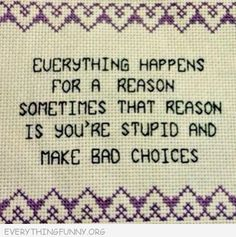 funny quote everything hapens for a reason sometimes that reason is you're stupid and made bad choices