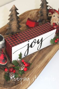 This red buffalo plaid Christmas joy block is super easy to make and perfect for your buffalo plaid Christmas decorations! Christmas Blocks, Christmas Wood Crafts, Christmas Signs Wood, Christmas Projects, Christmas Home, Winter Christmas, Holiday Crafts, Christmas Wreaths, Christmas Decorations