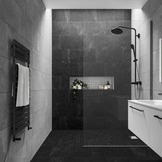 Stylish Impressive Black Floor Tiles Design Ideas For Modern Bathroom Black Tile Bathrooms, Bathroom Grey, Bathroom Layout, Dark Tiled Bathroom, Bathroom Ideas, Bathroom Wall Tiles, Grey Modern Bathrooms, Slate Wall Tiles, Grey Bathrooms Designs