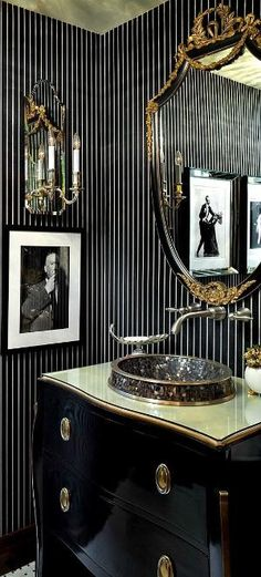 A powder room is generally defined as a small bathroom that contains only a sink and a toilet. Sometimes, it's referred to as a guest bathroom or half bath, and it is usually located on the first floor of a home. When decorating a powder room or Spiegel Design, Art Deco Bathroom, Bathroom Designs, Bathroom Ideas, Bathroom Goals, Bath Ideas, Wall Treatments, Beautiful Bathrooms, Glamorous Bathroom