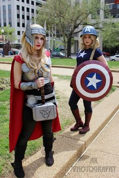 #Rule63 Thor & Captain America #cosplay