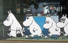 Moomins, in the shop window, Helsinki, by AA