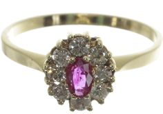 Catawiki online auction house: 14 carat yellow gold ring with natural ruby and 8 brilliant cut diamonds