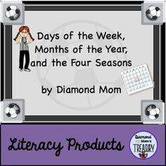 This product has a soccer theme. It focuses on learning the months of the year, the days of the week, and the four seasons. It also has the abbreviations for the months and the days.There is a poster with soccer balls for the months of the year.There is a poster with soccer players for the days of the week.There are colored cones for the matching game that match the days or months and the abbreviations.