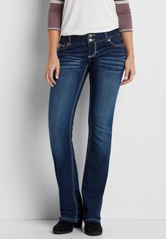 DenimFlex™ slim boot jeans with faux leather back pocket design