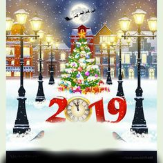happy new year and merry Christmas winter old town street with christmas tree. Santa Claus with deers in sky above the city. concept for greeting, postal card, invitation, template, 2019 clock Merry Christmas Images, Merry Christmas Wishes, Christmas Clipart, Merry Christmas And Happy New Year, Christmas Greetings, Christmas 2019, Christmas Cards, Christmas Tree, Prague Christmas Market