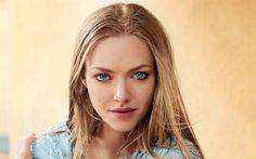Download wallpapers Amanda Seyfried, portrait, american actress, blue dress, beautiful woman