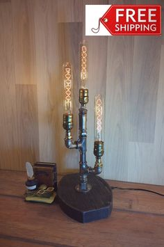 Excited to share the latest addition to my #etsy shop: Edison Lamp,Table Lamp,Industrial Lamp,Steampunk Light,Housewarming Gift,Gift for men,Bedside Lamp,Desk accessories,Loft Light,Pipe Lamp