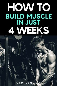 Need to build muscle try this 4 week free gym workout plan to help you out. 4 Week Workout Plan, Weekly Workout Plans, Gym Workout Tips, No Equipment Workout, Fun Workouts, Body Workouts, Workout Routines, Gym Plans, Help Losing Weight