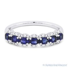 The featured ring is cast in 18k white gold and showcases 7 oval cut sapphire gemstones set in 4-prong settings accentuated with round cut diamonds.