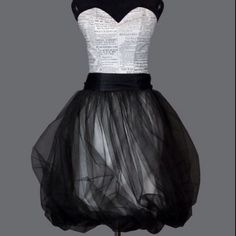black & white newspaper dress