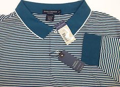 NWT New Daniel Cremieux Long Sleeve Striped Polo Shirt $85 Brown Turquoise Aqua | Daisy's Den