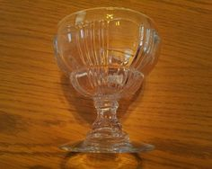 c1935-1944 VINTAGE FOSTORIA SUN RAY RIBBED SHERBET GLASS MODEL 2510 LOT OF FOUR EXCELLENT  #Fostoria
