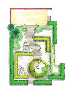 Engelse-Verandatuin_De-Tuinen-van-Appeltern Landscape Architecture Drawing, Garden Architecture, Landscape Plans, Landscape Design, Small Gardens, Outdoor Gardens, Courtyard Design, Garden Design Plans, Garden Pictures