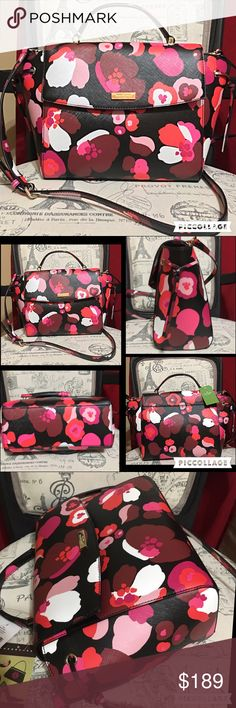 """NWT! $359 Authentic KATE SPADE Floral Lilah Bag! THIS IS A GORGEOUS AUTHENTIC KATE SPADE LAUREL WAY PRINTED LILAH BAG!  MSRP $359  KATE SPADE NEW YORK PLATE ON FRONT  WATER AND STAIN REPELLANT  INTERIOR ZIPPER POCKET  CELLPHONE/MULTI-FUNCTION POCKETS  BLACK LOGO INTERIOR  FLAP TOP WITH SNAP CLOSURE  14 KT WHITE GOLD PLATED HARDWARE WITH KATE SPADE LOGO   8"""" HANDLE  LONGER STRAP FOR CROSSBODY WEAR  8""""H X 14""""L X 4""""W  This is an authentic brand new KATE SPADE bag & comes complete with care…"""