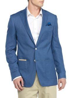 Tallia Orange Blue Slim-Fit  Basketweave Sport Coat