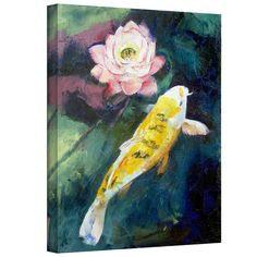 Michael Creese 'Koi and Lotus Flower' Gallery-Wrapped Canvas Art
