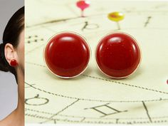 Glitter Red Stud Earrings 20 mm  Christmas Jewelry  Red by biesge, $14.90