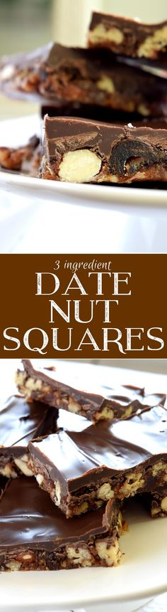 3 Ingredient Date Nut Squares - Chewy, sweet, crunchy, and chocolaty – what's not to love about these 3 Ingredient Date Nut Squares?  Take the guesswork out of healthy snacking with the wholesome goodness of these lovely homemade treats!