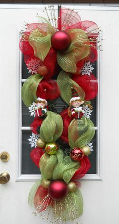 XL Christmas Wreath Deco Mesh Elf Swag Red Lime by Wishfulgifts, $75.00