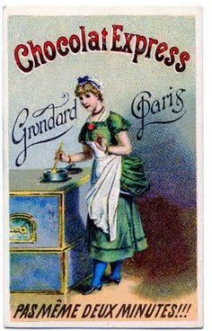 Vintage Graphic - Chocolat Lady - Paris Pub Vintage, Vintage Labels, Vintage Ephemera, Vintage Cards, Vintage Postcards, Vintage Signs, French Vintage, Vintage Food, Chocolate Card