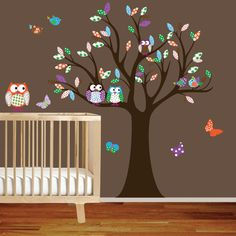 owl, bird, butterflies and tree wall vinal