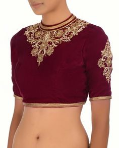 Maroon Blouse with Embellished Jewel Neckline - Sari Blouses - Apparel