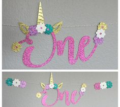 One Unicorn Banner high chair cursive letters Happy Birthday Party Decor, Unicorn Face, horn, ears, flowers - First Birthday 1 One