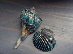 Painted Seashells Natural Beach Cottage Nautical by prayerfeather #artpainting